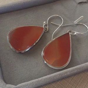Jewelry - Carnelian Natural gemstone silver dangle earrings